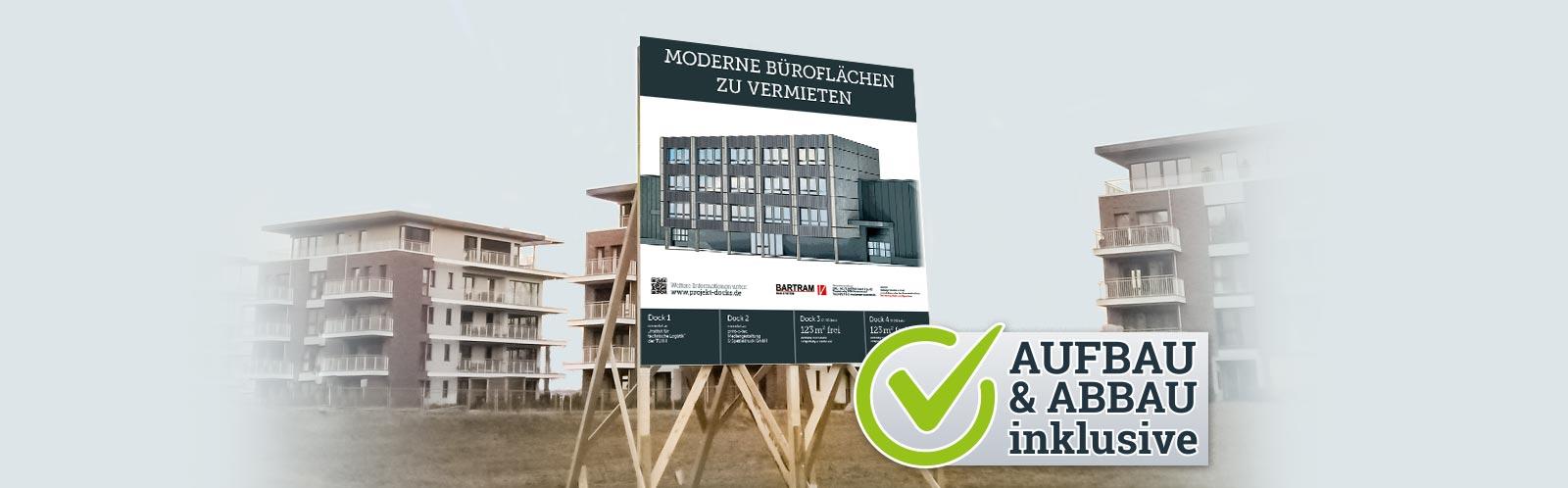 Nachhaltige Bauschilder inklusive Auf- und Abbau