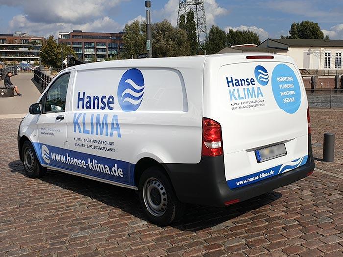Fahrzeugbeschriftung Transporter Hanse Klima 3