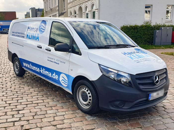 Fahrzeugbeschriftung Transporter Hanse Klima 2