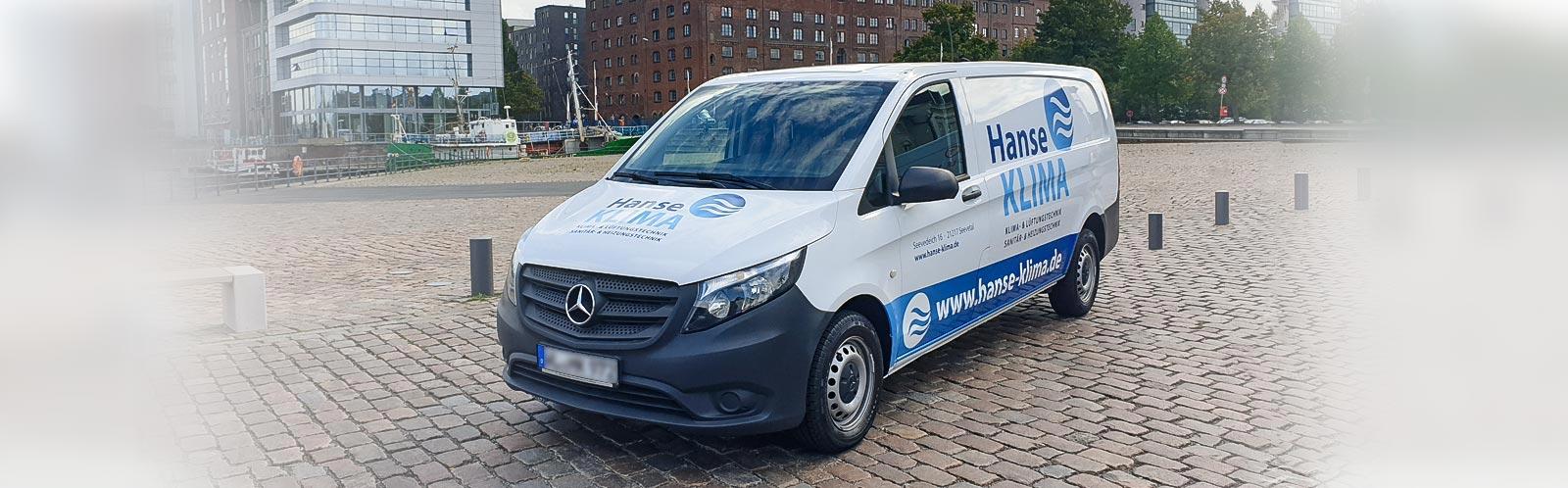 Fahrzeugbeschriftung Transporter Hanse Klima 1